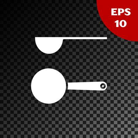 White Measuring spoon icon isolated on transparent dark background. Vector Illustration Stock Illustratie