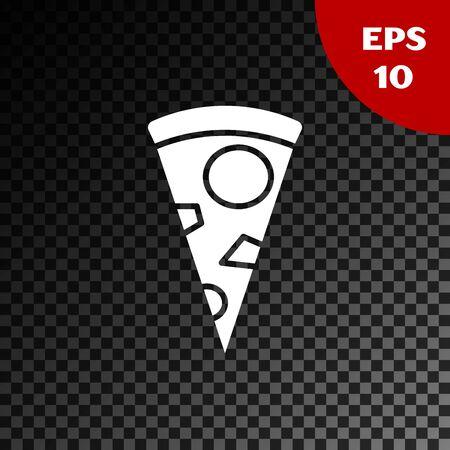 White Slice of pizza icon isolated on transparent dark background. Vector Illustration Illusztráció