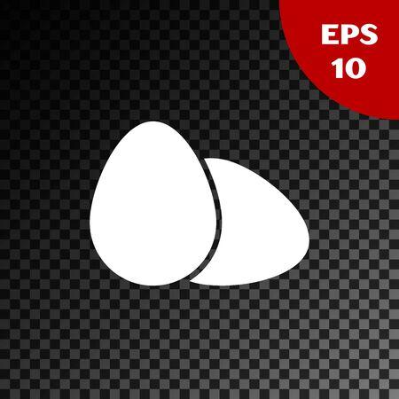 White Chicken egg icon isolated on transparent dark background. Vector Illustration