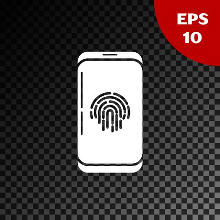 White Smartphone with fingerprint scanner icon isolated on transparent dark background. Concept of security, personal access via finger on mobile phone. Vector Illustration