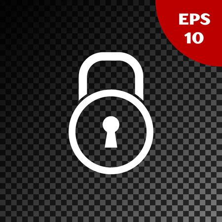 White Lock icon isolated on transparent dark background. Padlock sign. Security, safety, protection, privacy concept. Vector Illustration Imagens - 132231498