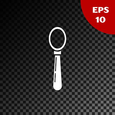 White Spoon icon isolated on transparent dark background. Cooking utensil. Cutlery sign. Vector Illustration