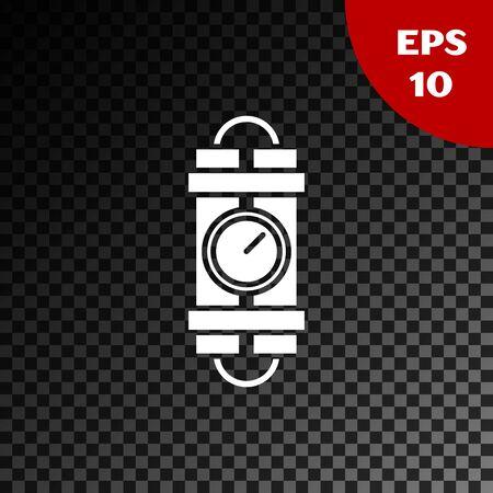 White Detonate dynamite bomb stick and timer clock icon isolated on transparent dark background. Time bomb - explosion danger concept. Vector Illustration