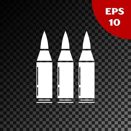 White Bullet icon isolated on transparent dark background. Vector Illustration Çizim