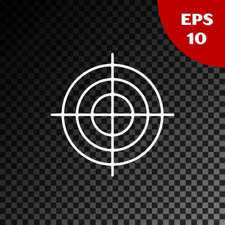 White Target sport for shooting competition icon isolated on transparent dark background. Clean target with numbers for shooting range or shooting. Vector Illustration Иллюстрация