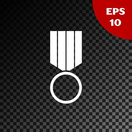 White Military reward medal icon isolated on transparent dark background. Army sign. Vector Illustration Çizim