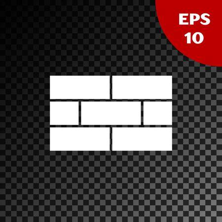 White Bricks icon isolated on transparent dark background. Vector Illustration
