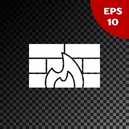 White Firewall, security wall icon isolated on transparent dark background. Vector Illustration Ilustração
