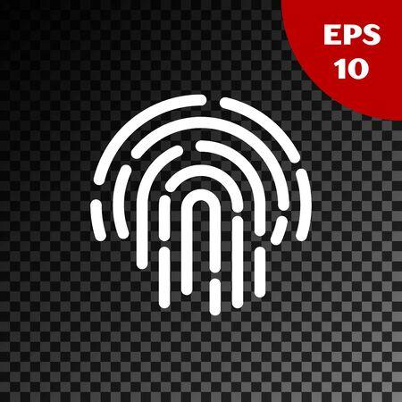White Fingerprint icon isolated on transparent dark background. ID app icon. Identification sign. Touch id. Vector Illustration Ilustração