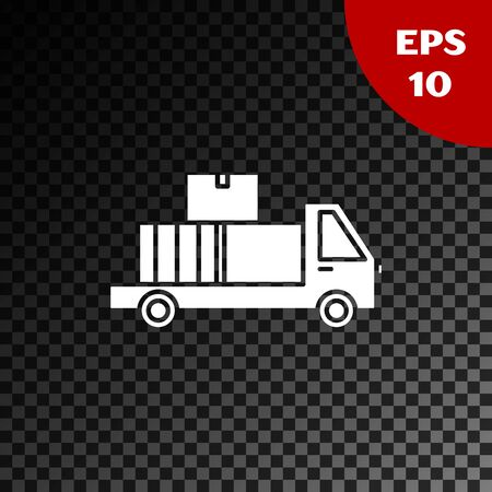 White Delivery truck with cardboard boxes behind icon isolated on transparent dark background. Vector Illustration