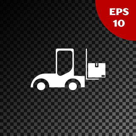 White Forklift truck icon isolated on transparent dark background. Fork loader and cardboard box. Cargo delivery, shipping, transportation. Vector Illustration Çizim