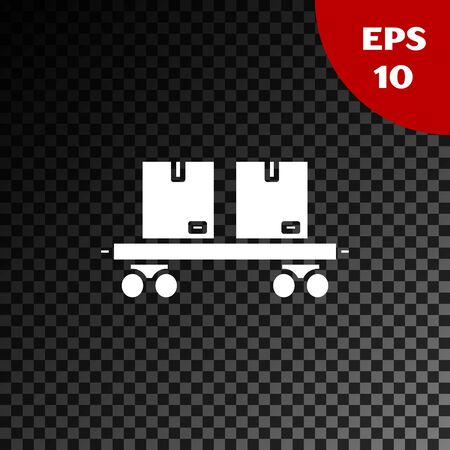 White Railway carriage icon isolated on transparent dark background. Vector Illustration