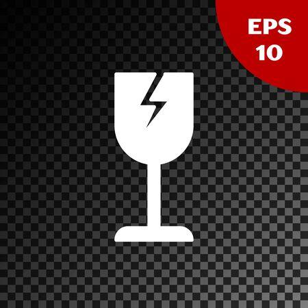 White Fragile broken glass symbol for delivery boxes icon isolated on transparent dark background. Vector Illustration Ilustração