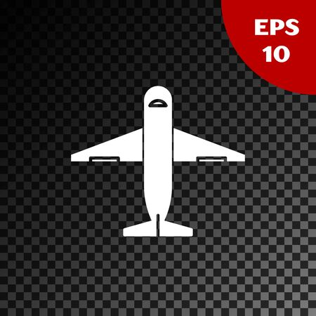 White Plane icon isolated on transparent dark background. Delivery, transportation. Cargo delivery by air. Airplane with parcels, boxes. Vector Illustration