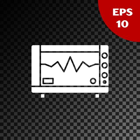 White Computer monitor with cardiogram icon isolated on transparent dark background. Monitoring icon. ECG monitor with heart beat hand drawn. Vector Illustration Stock Illustratie