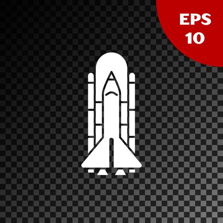 White Space shuttle and rockets icon isolated on transparent dark background. Vector Illustration  イラスト・ベクター素材