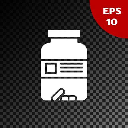 White Medicine bottle and pills icon isolated on transparent dark background. Bottle pill sign. Pharmacy design. Vector Illustration Ilustração