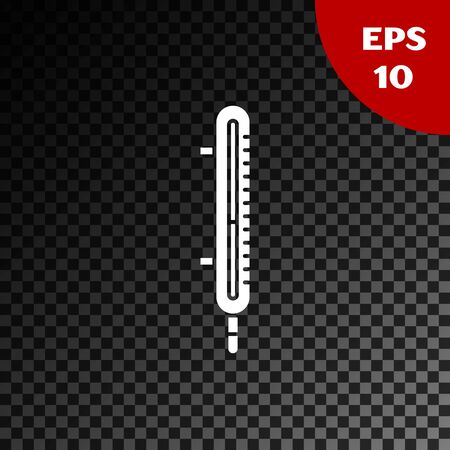 White Meteorology thermometer measuring icon isolated on transparent dark background. Thermometer equipment showing hot or cold weather. Vector Illustration Çizim