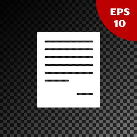 White Document icon isolated on transparent dark background. File icon. Checklist icon. Business concept. Vector Illustration Stock Illustratie