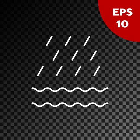 White Rain and waves icon isolated on transparent dark background. Rain cloud precipitation with rain drops. Vector Illustration