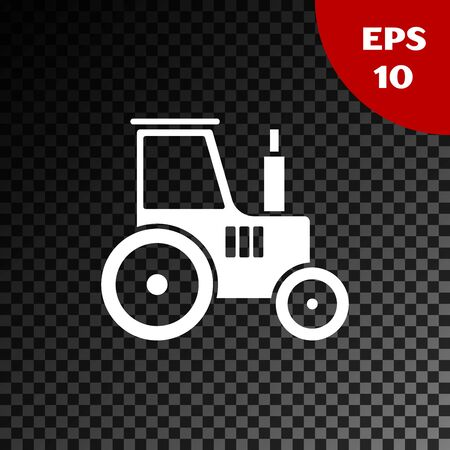 White Tractor icon isolated on transparent dark background. Vector Illustration Illusztráció