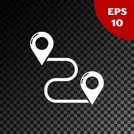 White Route location icon isolated on transparent dark background. Map pointer sign. Concept of path or road. GPS navigator. Vector Illustration