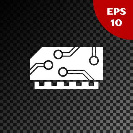 White RAM, random access memory icon isolated on transparent dark background. Vector Illustration