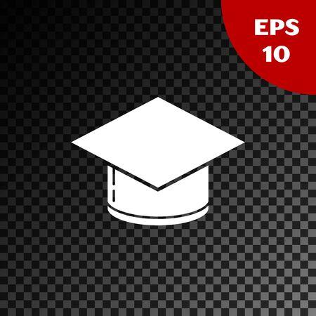 White Graduation cap icon isolated on transparent dark background. Graduation hat with tassel icon. Vector Illustration