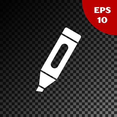 White Marker pen icon isolated on transparent dark background. Vector Illustration Illusztráció