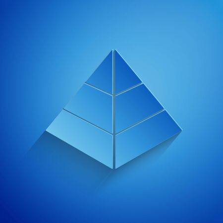 Paper cut Egypt pyramids icon isolated on blue background. Symbol of ancient Egypt. Paper art style. Vector Illustration