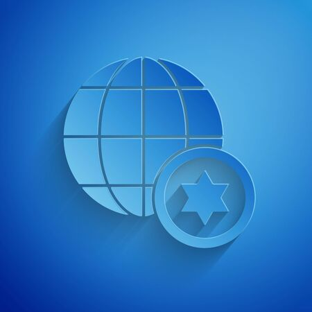 Paper cut World Globe and Israel icon isolated on blue background. Paper art style. Vector Illustration