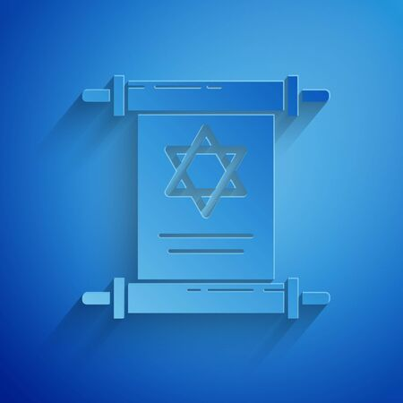 Paper cut Torah scroll icon isolated on blue background. Jewish Torah in expanded form. Star of David symbol. Old parchment scroll. Paper art style. Vector Illustration Vektorové ilustrace