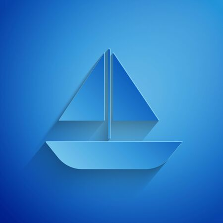 Paper cut Yacht sailboat or sailing ship icon isolated on blue background. Sail boat marine cruise travel. Paper art style. Vector Illustration