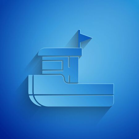 Paper cut Fishing boat icon isolated on blue background. Paper art style. Vector Illustration 일러스트