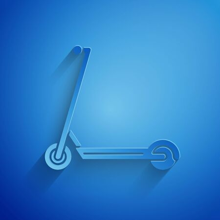 Paper cut Scooter icon isolated on blue background. Paper art style. Vector Illustration Ilustracja