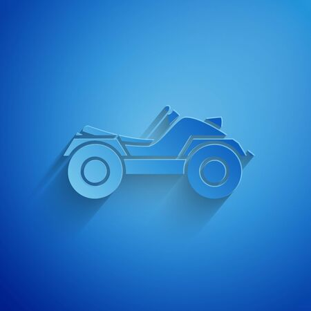 Paper cut All Terrain Vehicle or ATV motorcycle icon isolated on blue background. Quad bike. Extreme sport. Paper art style. Vector Illustration Vectores