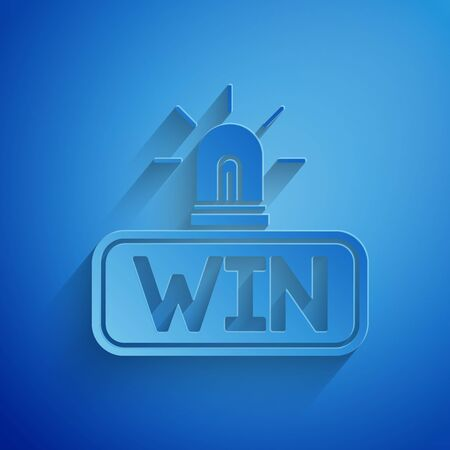 Paper cut Casino win icon isolated on blue background. Paper art style. Vector Illustration