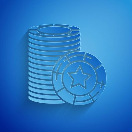 Paper cut Casino chips icon isolated on blue background. Casino gambling. Paper art style. Vector Illustration 일러스트