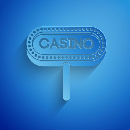Paper cut Casino signboard icon isolated on blue background. Paper art style. Vector Illustration