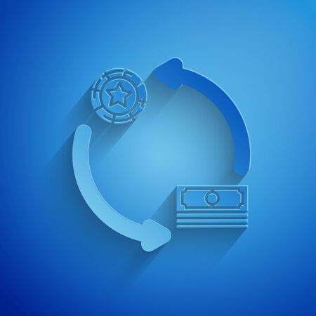 Paper cut Casino chips exchange on stacks of dollars icon isolated on blue background. Paper art style. Vector Illustration 일러스트