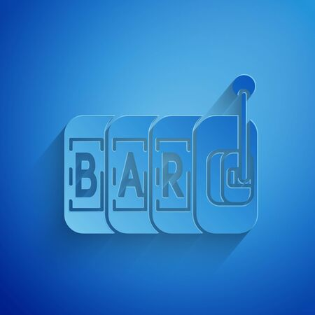 Paper cut Slot machine icon isolated on blue background. Paper art style. Vector Illustration 일러스트