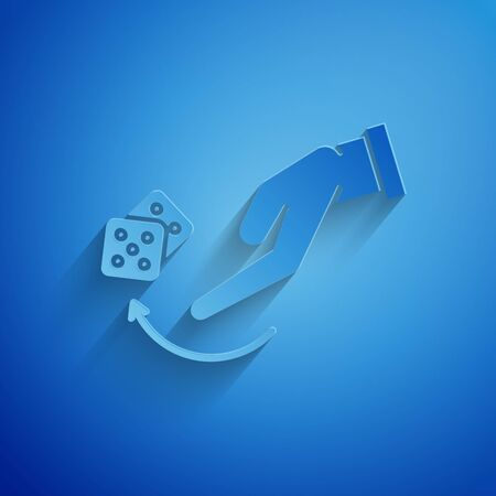 Paper cut Human hand throwing game dice icon isolated on blue background. Paper art style. Vector Illustration 일러스트