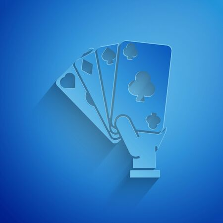 Paper cut Hand holding playing cards icon isolated on blue background. Casino game design. Paper art style. Vector Illustration 일러스트