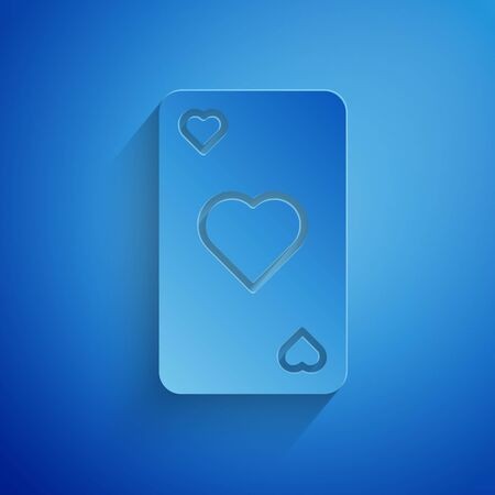 Paper cut Playing card with heart symbol icon isolated on blue background. Casino gambling. Paper art style. Vector Illustration Çizim