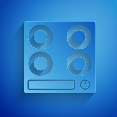 Paper cut Gas stove icon isolated on blue background. Cooktop sign. Hob with four circle burners. Paper art style. Vector Illustration Illustration