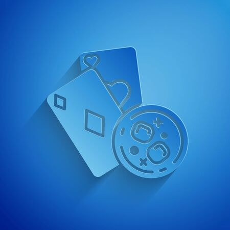 Paper cut Playing cards and glass of whiskey with ice cubes icon isolated on blue background. Casino gambling. Paper art style. Vector Illustration