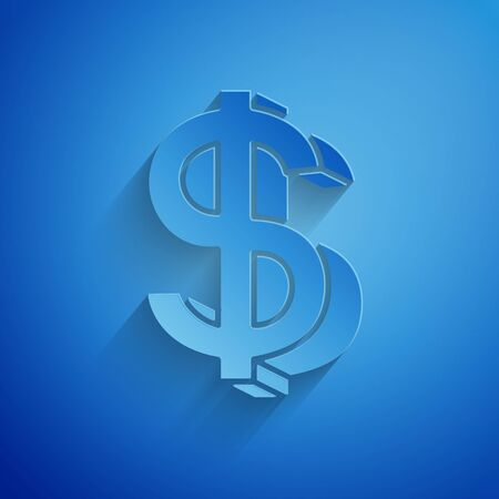 Paper cut Dollar symbol icon isolated on blue background. Cash and money, wealth, payment symbol. Casino gambling. Paper art style. Vector Illustration Ilustrace
