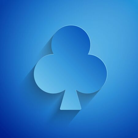 Paper cut Playing card with clubs symbol icon isolated on blue background. Casino gambling. Paper art style. Vector Illustration