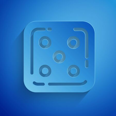 Paper cut Game dice icon isolated on blue background. Casino gambling. Paper art style. Vector Illustration