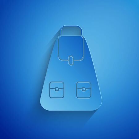 Paper cut School backpack icon isolated on blue background. Paper art style. Vector Illustration Illusztráció